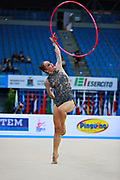 Kvieczynski Angelica during qualifying at hoop in Pesaro World Cup at Adriatic Arena on 10 April 2015.  Angelica is a Brazilian individual rhythmic gymnast  born September 1, 1991 in Toledo, Brazil.