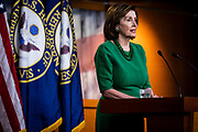 House Speaker Nancy Pelosi (D-CA) holds her weekly press conference on Capitol Hill on Thursday, March 12, 2020. (photo by Pete Marovich for The New York Times)
