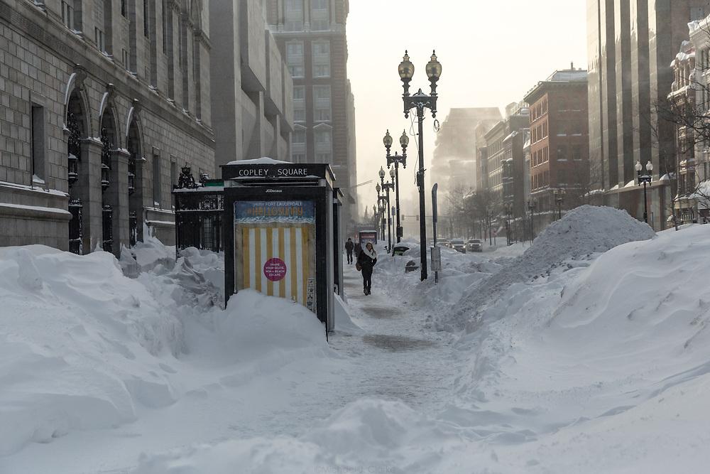 The snowy sidewalks of Boston's Back Bay during Winter Storm Neptune.