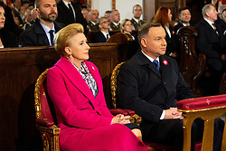 May 3, 2019 - Warsaw, Masovian Voivodeship, Poland - President of Poland Andrzej Duda and his wife  Agata Kornhauser-Duda seen during the Mass in the Basilica of the Arch cathedral Sacrifice of St. John the Baptist in Warsaw..Participation of President Andrzej Duda and his wife Agata Kornhauser-Duda in the celebration of the National Day of May 3, Day of Constitution. (Credit Image: © Lidia Mukhamadeeva/SOPA Images via ZUMA Wire)