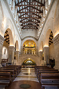Israel, Nazareth, the altar at the upper level of the Church of St Joseph in the Basilica of the Annunciation compound. built in 1914. The caves in the lower level were used by christians as a worship site tradition identifies the place as the carpentry shop of Joseph or the house of Joseph