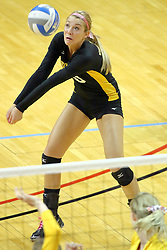 23 October 2010: Jackie Church digs out a serve during an NCAA, Missouri Valley Conference volleyball match between the Wichita State Shockers and the Illinois State Redbirds at Redbird Arena in Normal Illinois.