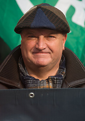 © Licensed to London News Pictures. 11/03/14 RMT union has confined its leader BOB CROW has died today. FILE PICTURE DATED: 27/03/2013. London, UK. Maritime and Transport Workers (RMT) General Secretary Bob Crow is seen with rail campaigners at Euston station on March 27, 2013. Union leaders and rail activists stage protests at 35 stations in the UK against planned new cuts to services and staff..Photo credit : Peter Kollanyi/LNP