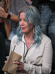 October 25, 2018 - Los Angeles, California, U.S - Owner, Jeanie Buss of the Los Angeles Lakers with blue hair attends their NBA game with the Denver Nuggets on Thursday October 25, 2018 at the Staples Center in Los Angeles, California. (Credit Image: © Prensa Internacional via ZUMA Wire)