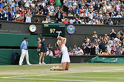 © Licensed to London News Pictures. 13/07/2019. London, UK. Simona Halep of Romania wins her match against Serena Williams of the United States in the ladies singles finals of the Wimbledon Tennis Championships 2019 held on Day 12 held at the All England Lawn Tennis and Croquet Club. Photo credit: Ray Tang/LNP