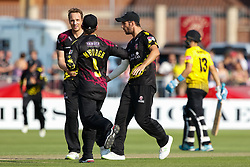 Somerset's Josh Davey celebrates taking the wicket of Gloucestershire's Benny Howell<br /> <br /> Photographer Simon King/Replay Images<br /> <br /> Vitality Blast T20 - Round 1 - Somerset v Gloucestershire - Friday 6th July 2018 - Cooper Associates County Ground - Taunton<br /> <br /> World Copyright © Replay Images . All rights reserved. info@replayimages.co.uk - http://replayimages.co.uk