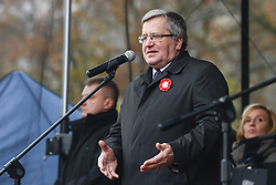 November 11, 2016 - Warsaw, Poland - The former President of Poland Bronislaw Komorowski speaks at the Committee for the Defense of Democracy (KOD) gathering on Friday 11th November, ahead of the march to mark the 98th anniversary of Poland's independence. .On Friday, 11 November 2016, in Warsaw, Poland. (Credit Image: © Artur Widak/NurPhoto via ZUMA Press)