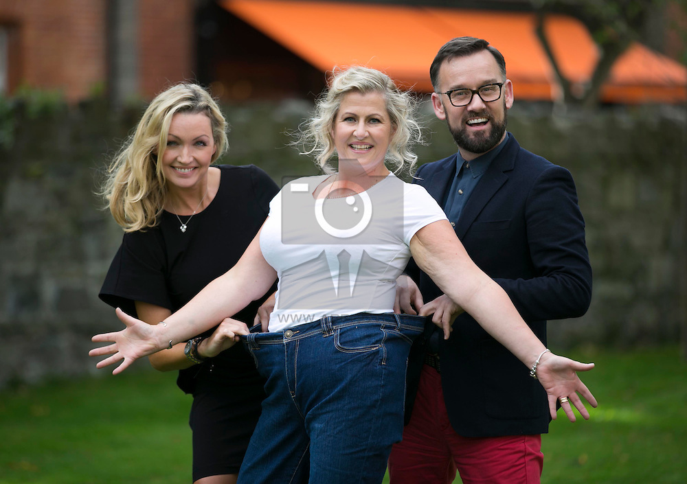 Repro Free: 08/10/2013 Celebrity judges Vivienne Connolly and Brendan Courtney are pictured congratulating newly crowned 'Curvette of the Year 2013' Alison Dillon from Firhouse Co Dublin. Alison was one of 6 worthy finalists who have lost more than 20 stone since joining Curves. Picture Andres Poveda