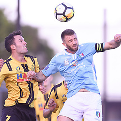 BRISBANE, AUSTRALIA - JANUARY 27: Sam Dickinson of the Jets and James Meyer of City compete for the ball during the Kappa Silver Boot Third Place match between Moreton Bay United and Brisbane City on January 27, 2018 in Brisbane, Australia. (Photo by Patrick Kearney)
