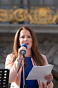 San Francisco, USA. 19th January, 2019. The Women's March San Francisco begins with a rally at Civic Center Plaza in front of City Hall. Clair Farley, Senior Advisor on Transgender Initiatives for the San Francisco Mayor's Office, addresses the crowd. Farley is a community leader, writer, actor, and trans advocate who speaks across the country to advocate for increased LGBTQ visitibility. Credit: Shelly Rivoli/Alamy Live News
