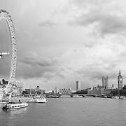 London Eye - Thames River View Of Parliment - London, UK - Black & White