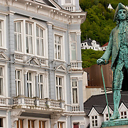 Three weeks aboard the Kong Harald. Hurtigruten, the Coastal Express. Bergen. A statue in Bergen.