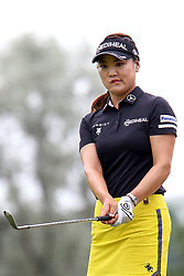 June 16, 2018 - Belmont, Michigan, United States - So Yeon Ryu of Seoul, Republic of Korea reacts after chipping onto the 12th green during the third round of the Meijer LPGA Classic golf tournament at Blythefield Country Club in Belmont, MI, USA  Saturday, June 16, 2018. (Credit Image: © Amy Lemus/NurPhoto via ZUMA Press)