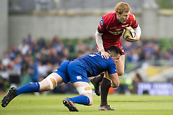 May 27, 2018 - Dublin, Ireland - Rhys Patchell of Scarlets tackled by James Ryan of Leinster during the Guinness PRO14 Final match between Leinster Rugby and Scarlets at Aviva Stadium in Dublin, Ireland on May 26, 2018  (Credit Image: © Andrew Surma/NurPhoto via ZUMA Press)