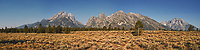 Grand Teton Panorama. Composite of three images taken with a Nikon D200 camera and 18-75 mm kit lens (ISO 100, 18 mm, f/5.6, 1/500 sec). Raw images processed with Capture One Pro and AutoPano Giga Pro.