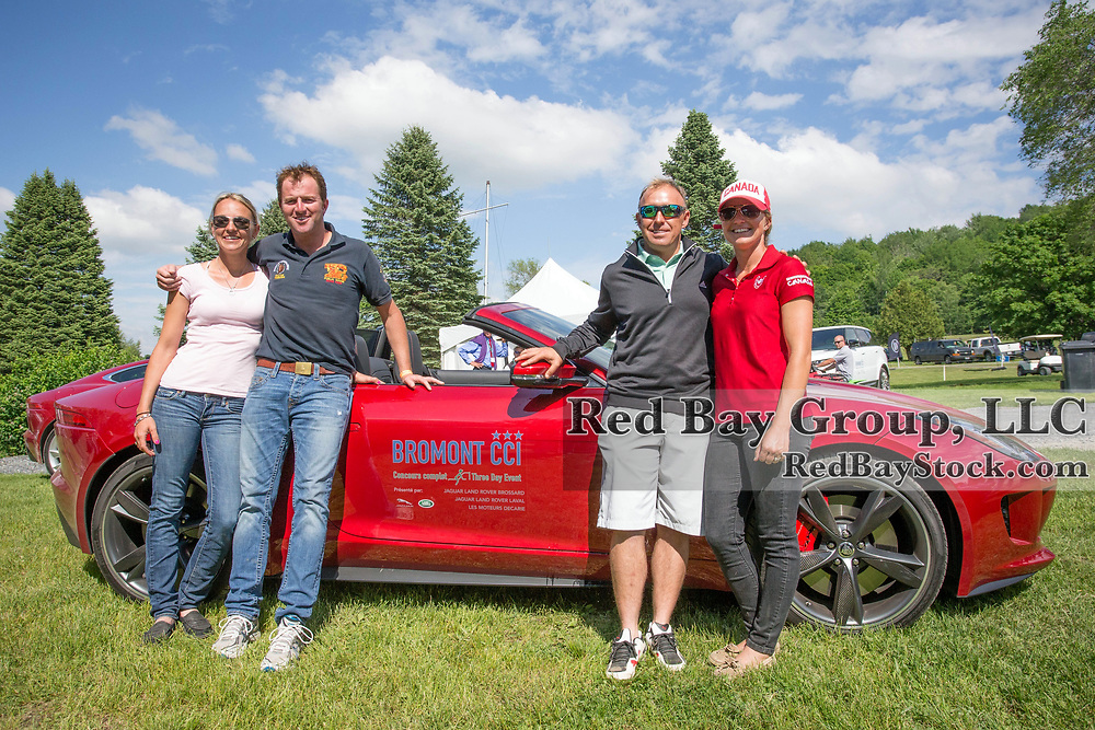 Diana Burnett, Will Faudree, Buck Davidson and Jessica Phoenix during a friendly driving competition between Canada and US riders at the 2014 Jaguar Land Rover Bromont International Three Day Event in Bromont, Quebec.