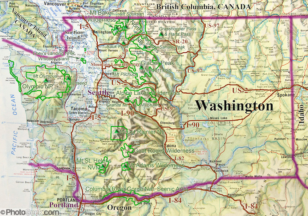 Washington map of major parks, cities, roads, geography. USA.