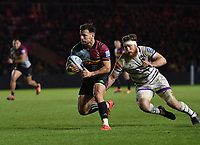 Rugby Union - 2018 / 2019 Gallagher Premiership - Harlequins vs. Leicester Tigers<br /> <br /> Harlequins' Danny Care evades the tackle of Leicester Tigers' Brendon O'Connor, at The Stoop.<br /> <br /> COLORSPORT/ASHLEY WESTERN