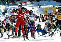 Skiskyting<br /> Verdenscup Pokljuka Slovenia<br /> 11.01.2004<br /> Foto: Digitalsport<br /> Norway Only<br /> <br /> Vincent Defrasne (FRA), Ole Einar Bjørndalen (NOR), Sergei Rozhkov (RUS), Sergei Konovalov (RUS), Raphael Poiree (FRA