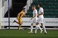 Ben Tozer of Newport county © celebrates after he scores his teams 1st goal.  EFL Skybet football league two match, Newport county v Barnet at Rodney Parade in Newport, South Wales on Tuesday 25th October 2016.<br /> pic by Andrew Orchard, Andrew Orchard sports photography.
