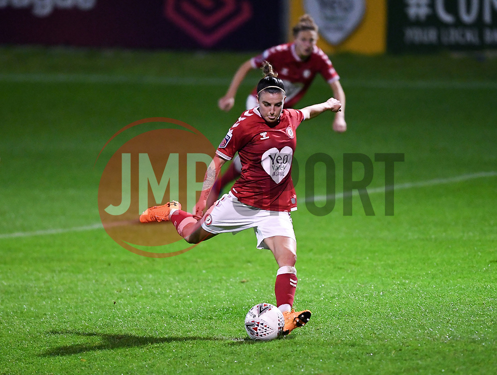 Chloe Logarzo of Bristol City Women scores her sides first goal of the match after Bristol City Women are awarded a penalty - Mandatory by-line: Ryan Hiscott/JMP - 14/11/2020 - FOOTBALL - Twerton Park - Bath, England - Bristol City Women v Tottenham Hotspur Women - Barclays FA Women's Super League