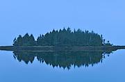 Kaien Island in Morse Basin in fog at dawn. , Prince Rupert, British Columbia, Canada