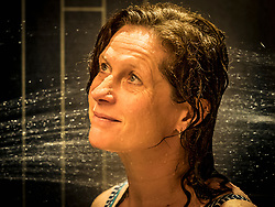 Woman relaxing in the installations of Paracelsus-Therme, Bad Liebenzell, Baden-Württemberg, Germany