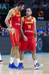 September 17, 2018 - Madrid, Spain - Pierre Oriola and Joaquin Colom of Spain during the FIBA Basketball World Cup Qualifier match Spain against Latvia at Wizink Center in Madrid, Spain. September 17, 2018. (Credit Image: © Coolmedia/NurPhoto/ZUMA Press)