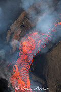 lava erupting from fissure 8 of the Kilauea Volcano east rift zone in Leilani Estates subdivision, near Pahoa, boils and spatters as it spills out of its cinder cone, Puna District, Hawaii Island ( the Big Island ), Hawaiian Islands, U.S.A. ( Pacific Ocean )