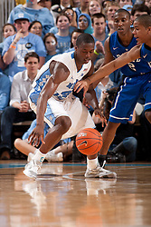 CHAPEL HILL, NC - MARCH 05: Harrison Barnes #40 of the North Carolina Tar Heels dribbles the ball under pressure from Andre Dawkins #20 of the Duke Blue Devils on March 05, 2011 at the Dean E. Smith Center in Chapel Hill, North Carolina. North Carolina won 67-81. (Photo by Peyton Williams/UNC/Getty Images) *** Local Caption *** Harrison Barnes;Andre Dawkins