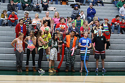 07 January 2017:  dreaming of summer, the few students on campus during the break dress in swimsuits despite the single digits and below zero wind chills just beyond the walls during an NCAA men's division 3 CCIW basketball game between the Wheaton Thunder and the Illinois Wesleyan Titans in Shirk Center, Bloomington IL