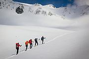 Snowshoers on the Mazama Ridge snowshoe trail on Mount Rainier in Washington state