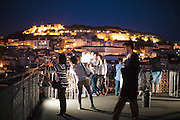 Tourists taking photos on the top of Santa Justa's lift, in Lisbon.