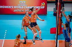 03-10-2018 NED: World Championship Volleyball Women day 5, Yokohama<br /> Argentina - Netherlands 0-3 / Marrit Jasper #18 of Netherlands, Nicole Koolhaas #22 of Netherlands