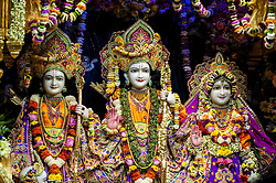 © Licensed to London News Pictures. 05/09/2015. Watford, UK. Deities on display to visitors at the biggest Janmashtami festival outside of India at the Bhaktivedanta Manor Hare Krishna Temple in Watford, Hertfordshire.  (L to R Lakshman, Lord Rama and Sita Devi. Photo credit : Stephen Chung/LNP
