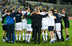 Players of Zurich celebrate at Third Round of Champions League qualifications football match between NK Maribor and FC Zurich,  on August 05, 2009, in Ljudski vrt , Maribor, Slovenia. Zurich won 3:0 and qualified to next Round. (Photo by Vid Ponikvar / Sportida)