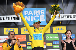 March 7, 2018 - Chatel-Guyon, FRANCE - Spanish Luis Leon Sanchez of Astana Pro Team celebrates on the podium in the yellow jersey of leader in the overall ranking after the fourth stage of the 76th edition of Paris-Nice cycling race, a 18,4 km individual time trial from La Fouillouse to Saint-Etienne, France, Wednesday 07 March 2018. The race starts on the 4th and ends on the 11th of March. BELGA PHOTO DAVID STOCKMAN (Credit Image: © David Stockman/Belga via ZUMA Press)