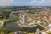 Nederland, Noord-Brabant, Den Bosch, 27-05-2013; Plan Zuid / De Pettelaar. Provinciehuis en Zuiderplas. In het water de gerestaureerde Pettelaarse Schans.<br /> Stadsuitbreiding en nieuwbouwwijk uit de jaren vijftig en zestig van de vorige eeuw, wederopbouwperiode. Groen en ruim opgezet.<br /> New residential area built in the fifties and sixties in Den Bosch. Spacious and plentyful green areas.<br /> Reconstruction area.<br /> luchtfoto (toeslag op standard tarieven)<br /> aerial photo (additional fee required)<br /> copyright foto/photo Siebe Swart