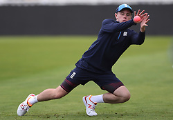 England spin bowler Mason Crane catches the pink ball during the nets session at Edgbaston, Birmingham.