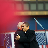 President-elect Barack Obama greets Vice President-elect Joe Biden during their pre-inauguration rally in Wilmington, Delaware, where a crowd of thousands braved sub-zero temperatures to lend their support.  Obama and Biden along with their families traveled by train on a Whistle Stop Tour, opening Inauguration celebrations with rallies in Philadelphia, Wilmington, and Baltimore before their final arrival in Washington, D.C.  The inauguration takes place on January 20, 2009, swearing Obama in as the 44th President of the United States of America.¬?