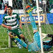 Bursaspor's Ferhat Kiraz (L) goal during their Turkish soccer super league match Bursaspor between Besiktas at Ataturk Stadium in Bursa Turkey on Monday, 08 April 2013. Photo by TURKPIX