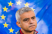 Sadiq Khan gives an interview before the start - The People's Vote March For The Future demanding a Vote on any Brexit deal. The protest assembled on Park Lane and then marched to Parliament Square for speeches.