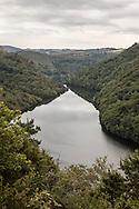 France. Massif central. la truyere river belvedere and valley, near saint flour citycenter of france / le belvedere de la riviere la truyere pres de saint flour dans le cantal,
