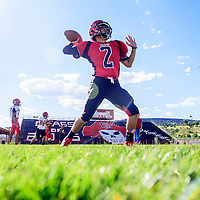 081715  Adron Gardner/Independent<br /> <br /> Grants Pirate Brandon Hernandez prepares a throw during football practice at Grants High School Monday.