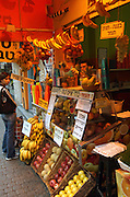 A stall making and selling fresh fruit juice in Shenkin street, Tel aviv, Israel