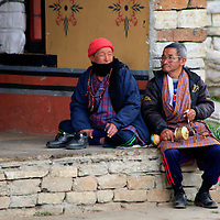 Asia, Bhutan, Thimpu. Bhutanese locals at the Memorial Chorten.