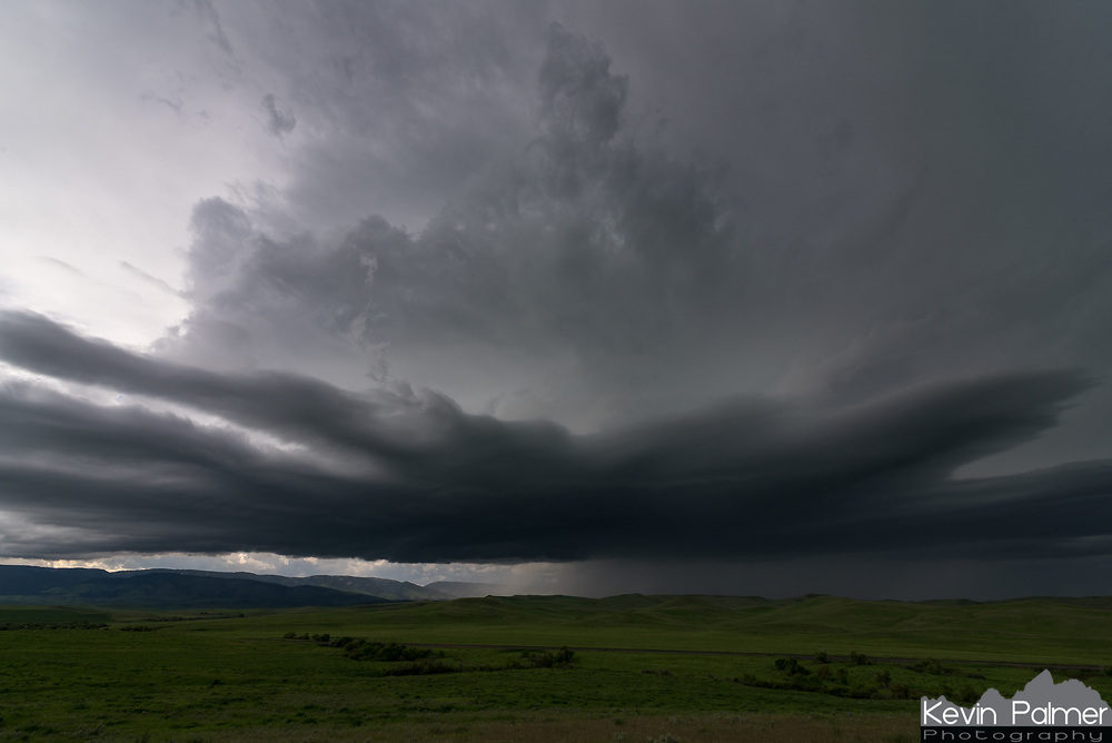 """This severe thunderstorm rolled out of the Bighorn Mountains near Aberdeen, Montana. After it passed by I found 1.5"""" hailstones on the ground."""