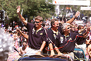 Dean Barker and Brad Butterworth Queen street ticker tape parade for Team New Zealand, winners of the America's Cup 2000