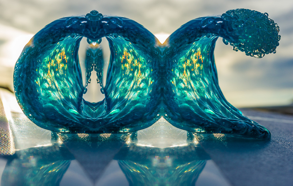 """""""Sea of Cortez Waves"""", derivative image created from a photo of a glass art piece, Baja, Mexico"""