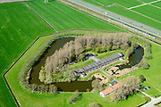 Nederland, Noord-Holland, Uitgeest, 20-04-2015; Fort aan den Ham, ten zuidwesten van Krommenie. Onderdeel van de Stelling van Amsterdam. Gebouwd in verband met de aanleg spoorlijn Amsterdam – Alkmaar.<br /> Fort aan den Ham, part of 19th century Defense line of Amsterdam<br /> luchtfoto (toeslag op standard tarieven);<br /> aerial photo (additional fee required);<br /> copyright foto/photo Siebe Swart